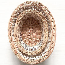 Load image into Gallery viewer, Natural oval set of two wicker baskets top view