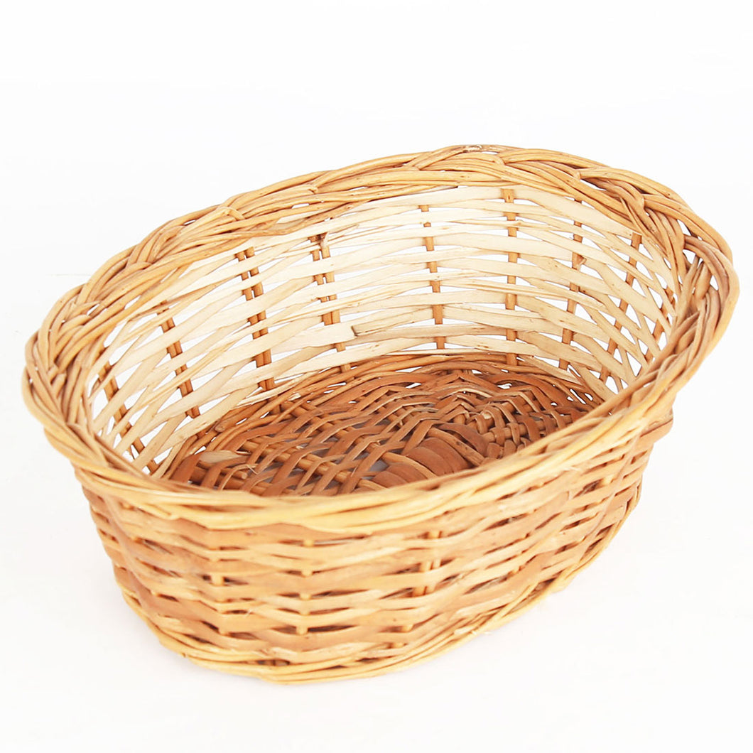Natural oval small wicker basket top view