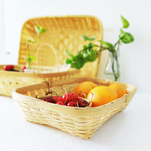 DaisyLife natural small medium big set of 3 tray bamboo baskets for fruits