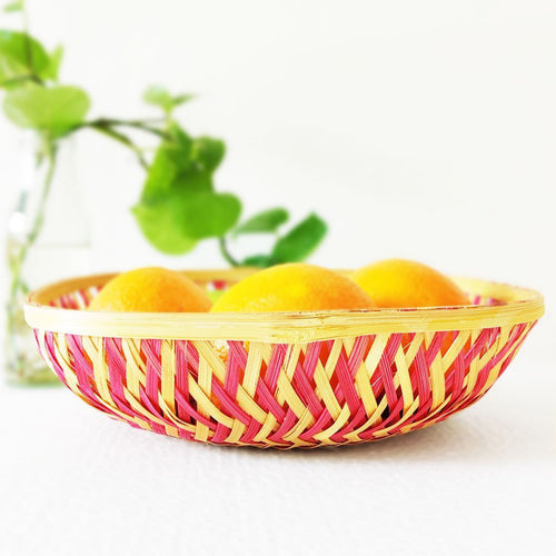 DaisyLife pink color 12 inch square bamboo basket with oranges