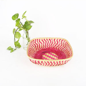 DaisyLife pink color 12 inch square bamboo basket
