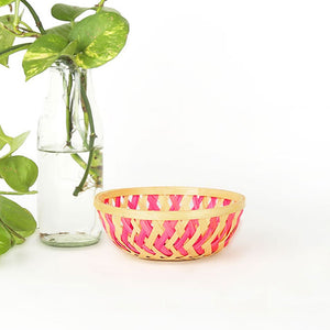 Pink color 5 inch round bamboo basket