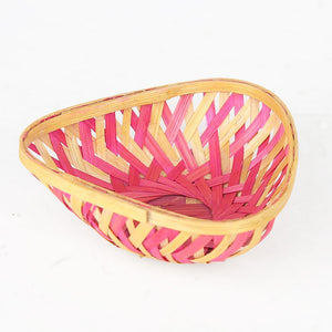 DaisyLife pink color 5 inch triangle bamboo basket top view