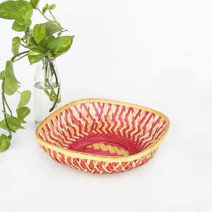 DaisyLife pink color 9 inch bamboo basket