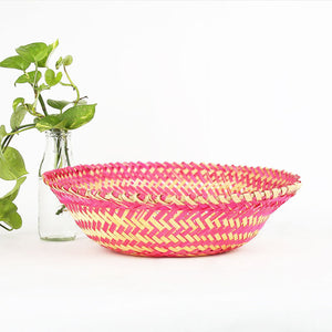 DaisyLife pink color bamboo oval big basket