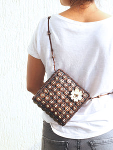 DaisyLife natural coconut shell brown fashion sling bag on model
