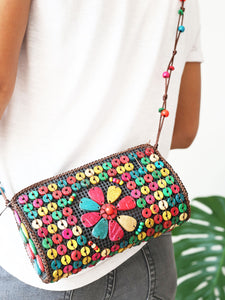 DaisyLife natural coconut shell multicolor fashion sling bag on model