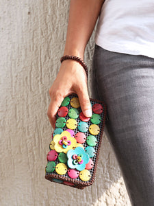 DaisyLife natural coconut multicolor fashion wristlet clutch bag on model