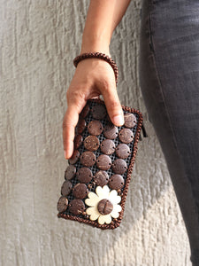 DaisyLife natural coconut shell brown fashion clutch wristlet bag on model