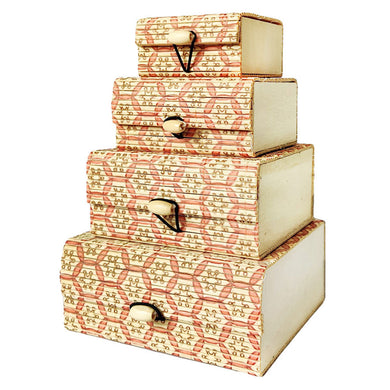 Set of 4 bamboo gift & storage boxes