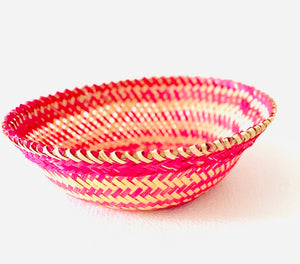 Pink color bamboo oval big basket top view