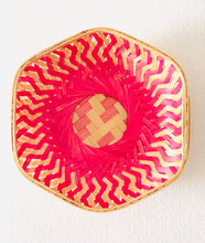 Load image into Gallery viewer, Pink color hexagon 9 inch bamboo basket top flat view