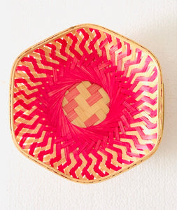 Pink color hexagon 9 inch bamboo basket top flat view