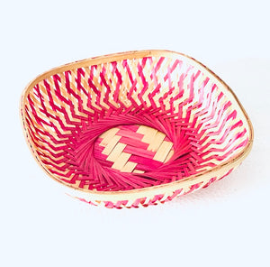 Pink color 9 inch square bamboo basket top view
