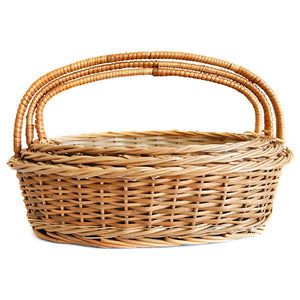 """Elegant Oval"" Natural Wicker Gift Basket (set of 3 sizes, Compact set)"