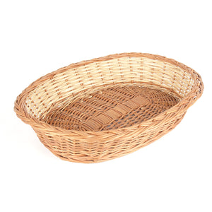 """Elegant Oval"" Natural Wicker Tray Basket"