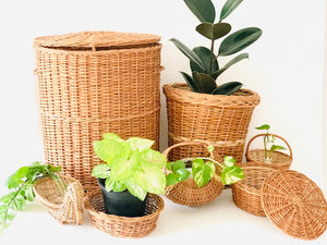 Set of 7 pcs- Big Laundry basket, Planter, Moon basket, Roti basket, Duck basket, Flower basket, Deep dish oval basket