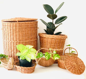 Set of 7 pcs- Laundry basket, Planter, Moon basket, Roti basket, Duck basket, Flower basket, Deep dish oval basket