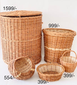DaisyLife natural wicker basket set with planter, storage and home decor baskets