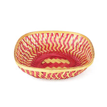 Load image into Gallery viewer, Pink color 9 inch square bamboo basket top view