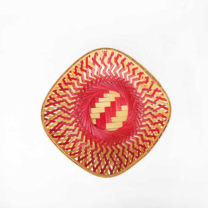 Pink color 9 inch square bamboo basket top flat view
