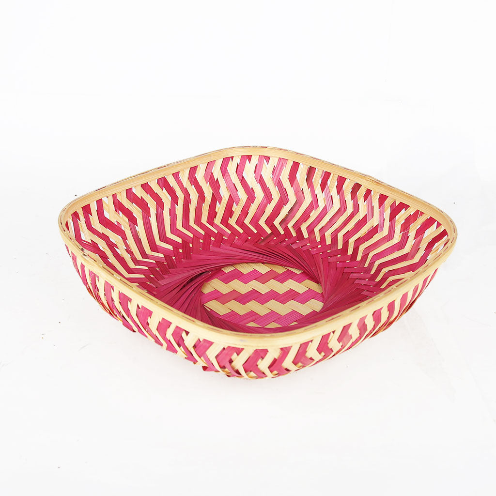 Pink color 12 inch square bamboo basket top view