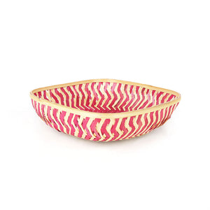 Pink color 12 inch square bamboo basket front view