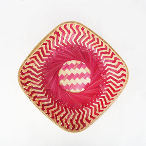 Pink color 12 inch square bamboo basket top flat view