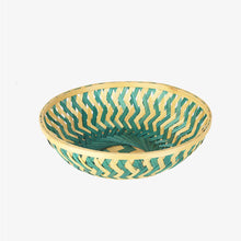 Load image into Gallery viewer, Green color 9 inch round bamboo basket top view