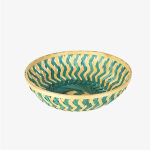 Green color 9 inch round bamboo basket top view