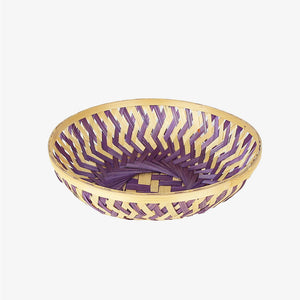 Purple color 9 inch round bamboo basket top view