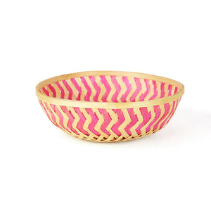 Pink color 9 inch round bamboo basket front view