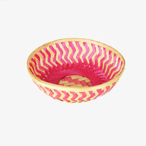 Pink color 9 inch round bamboo basket top view