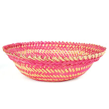Load image into Gallery viewer, Pink color bamboo oval big basket front view