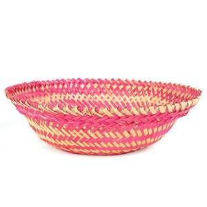 Pink color bamboo oval big basket front view