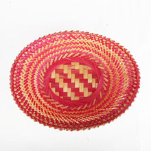 Load image into Gallery viewer, Pink color bamboo oval big basket top view