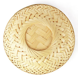 Natural 5 inch round bamboo basket top flat backside view