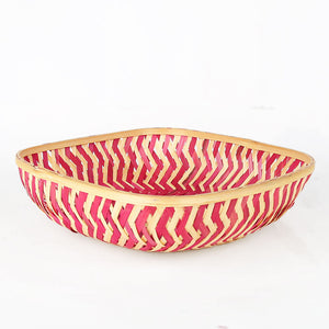 Pink color 7 inch square bamboo basket side angle view