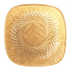 Natural 7 inch square bamboo basket top flat view