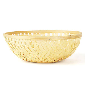 Natural 5 inch round bamboo basket front view