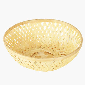 Natural 5 inch round bamboo basket top view