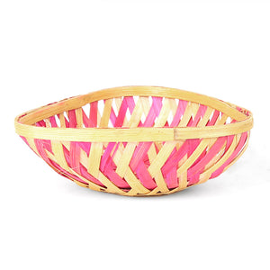 Pink color 5 inch triangle bamboo basket front view