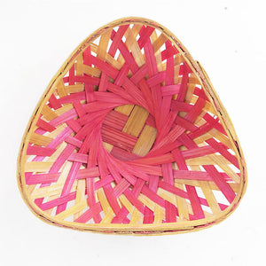 Pink color 5 inch triangle bamboo basket flat top view