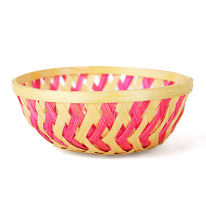 Pink color 5 inch round bamboo basket front view