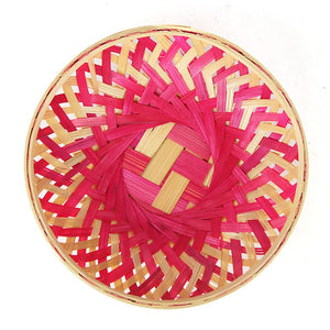 Pink color 5 inch round bamboo basket top flat view