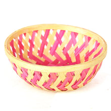 Load image into Gallery viewer, Pink color 5 inch round bamboo basket top view