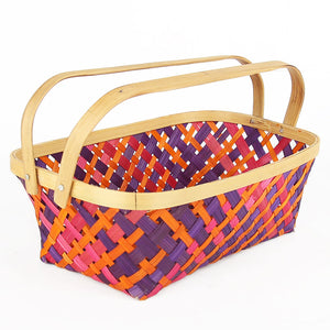 Multi color medium  rectangular  bamboo basket with folding handles side angle