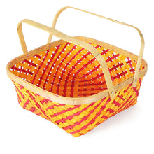 Load image into Gallery viewer, DaisyLife orange colour 10 inch bamboo basket with folding handles  top view