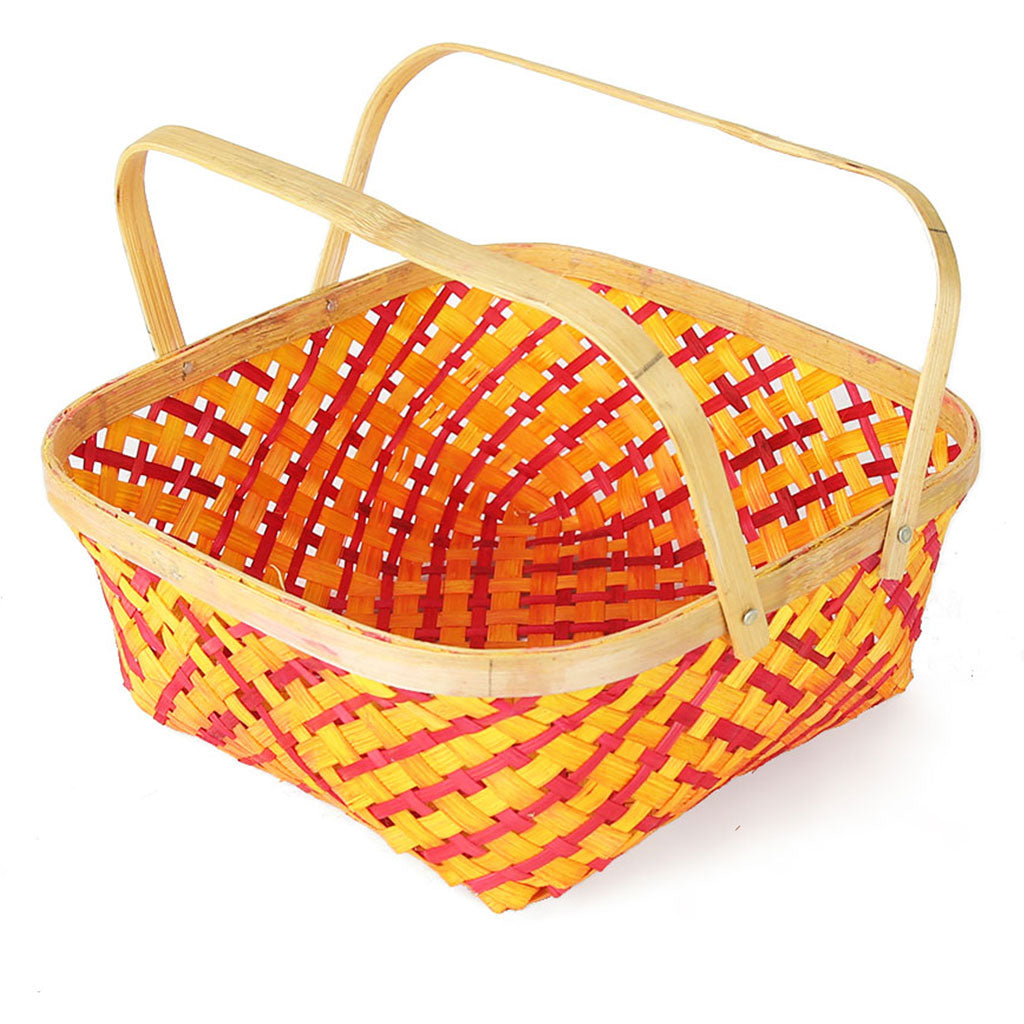 DaisyLife orange colour 10 inch bamboo basket with folding handles  top view