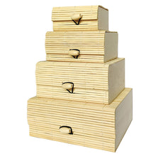 Load image into Gallery viewer, Set of 4 bamboo gift & storage boxes